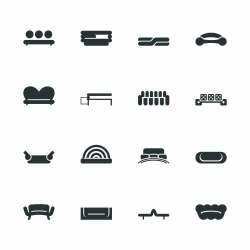 Sofa Design Silhouette Icons