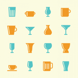 Cup and Glass Icons - Color Series
