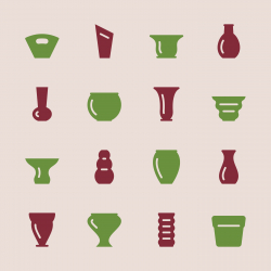 Pot and Vase Icons Set 1 - Color Series